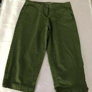 TALBOTS Green Crop Capri Chinos Stretch Size 2P